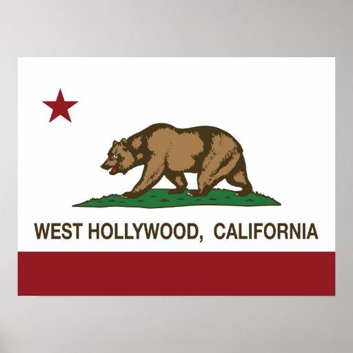 Bandera Hollywood del oeste del estado de Californ Poster