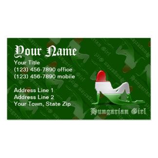 Bandera húngara de la silueta del chica tarjetas de visita