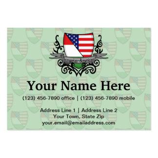 Bandera Húngaro-Americana del escudo Tarjetas De Visita Grandes