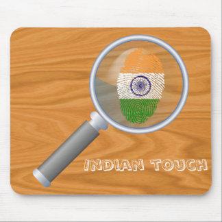 Bandera india de la huella dactilar del tacto alfombrilla de ratón