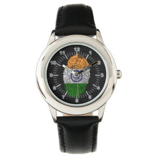 Bandera india de la huella dactilar del tacto reloj de pulsera