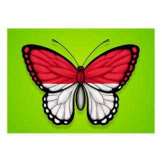 Bandera indonesia de la mariposa en verde plantilla de tarjeta de visita