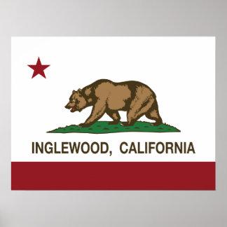 Bandera Inglewood del estado de California Póster