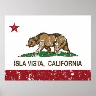 Bandera Isla Vista del estado de California Póster