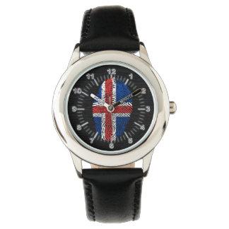 Bandera islandesa de la huella dactilar del tacto reloj de pulsera