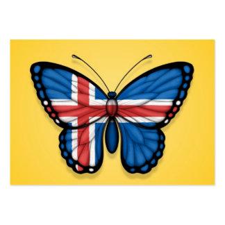 Bandera islandesa de la mariposa en amarillo tarjetas de visita