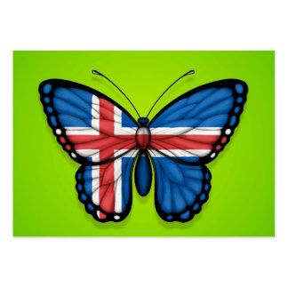 Bandera islandesa de la mariposa en verde tarjetas de visita