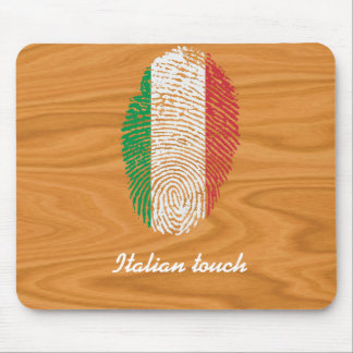 Bandera italiana de la huella dactilar del tacto alfombrilla de ratón
