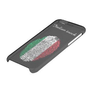Bandera italiana de la huella dactilar del tacto funda transparente para iPhone 6/6s