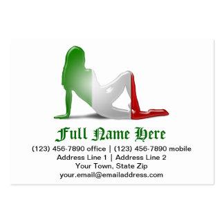 Bandera italiana de la silueta del chica tarjetas de visita grandes