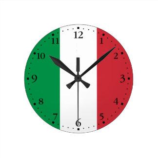 Bandera italiana patriótica reloj redondo mediano