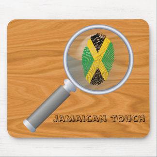 Bandera jamaicana de la huella dactilar del tacto alfombrilla de ratón