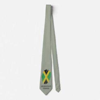 Bandera jamaicana de la huella dactilar del tacto corbata personalizada