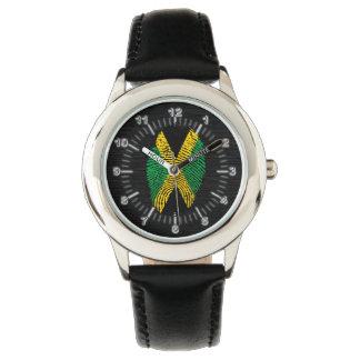 Bandera jamaicana de la huella dactilar del tacto reloj de pulsera