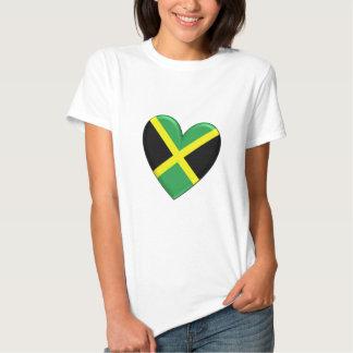 Bandera jamaicana del corazón camiseta