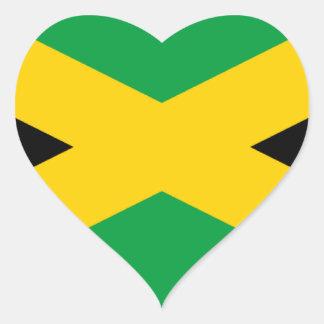 Bandera jamaicana pegatina en forma de corazón