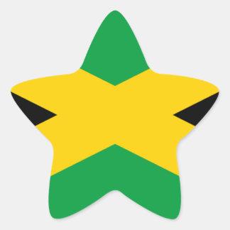 Bandera jamaicana pegatina en forma de estrella