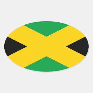 Bandera jamaicana pegatina ovalada