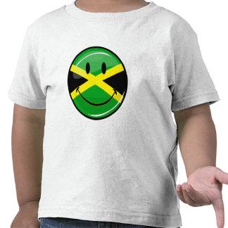 Bandera jamaicana sonriente de la ronda brillante camisetas