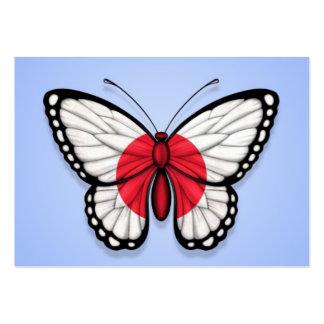 Bandera japonesa de la mariposa en azul plantillas de tarjetas de visita