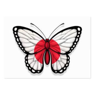 Bandera japonesa de la mariposa plantilla de tarjeta de visita