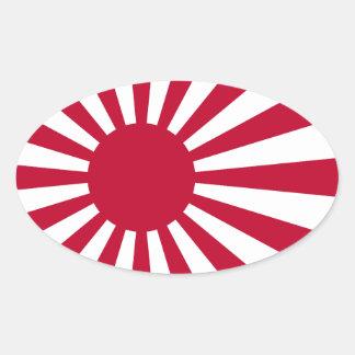 Bandera japonesa imperial de la marina de guerra pegatina ovalada