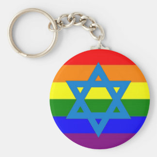 Bandera judía del orgullo gay llavero redondo tipo chapa