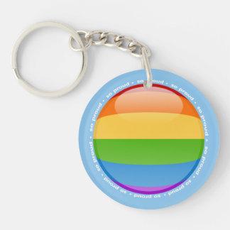 Bandera lesbiana gay de la burbuja del orgullo del llavero redondo acrílico a doble cara