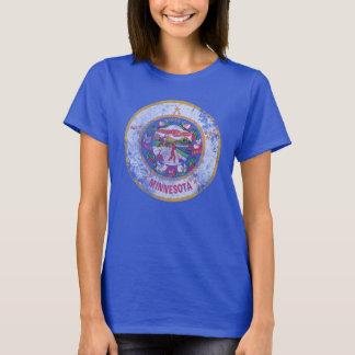 Bandera linda del estado del Grunge del vintage de Camiseta