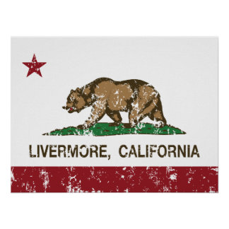 Bandera Livermore del estado de California Poster