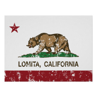 Bandera Lomita del estado de California Posters