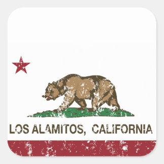 Bandera Los Alamitos de la república de California Colcomanias Cuadradases