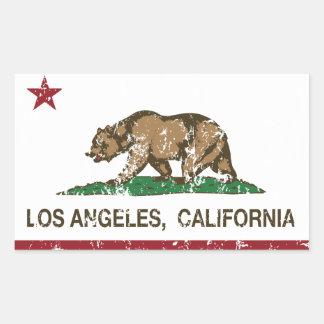 bandera Los Ángeles de California apenado Rectangular Pegatina