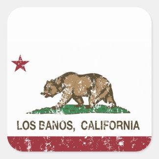 Bandera Los Banos del estado de California Pegatinas Cuadradases Personalizadas
