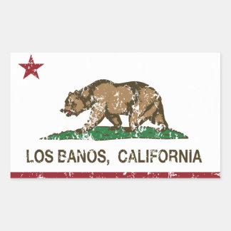 Bandera Los Banos del estado de California Rectangular Pegatina