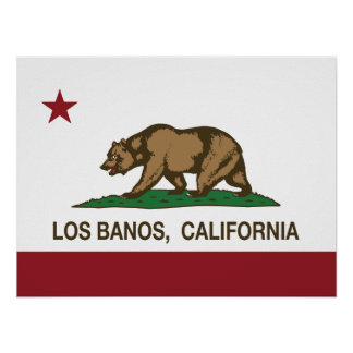 Bandera Los Banos del estado de California Posters
