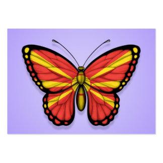 Bandera macedónica de la mariposa en púrpura tarjeta de visita