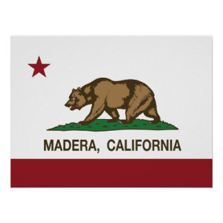 Bandera Madera del estado de California Póster