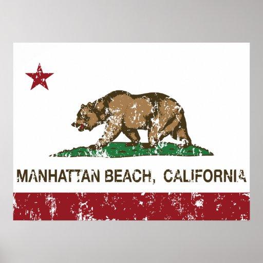 Bandera Manhattan Beach del estado de California Poster