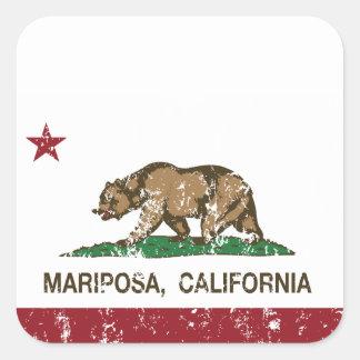 Bandera Mariposa de la república de California Calcomanía Cuadrada Personalizada