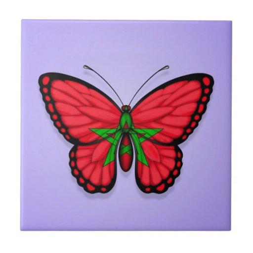 Bandera marroquí de la mariposa en púrpura azulejos ceramicos