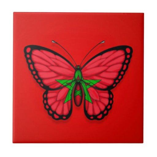 Bandera marroquí de la mariposa en rojo azulejo ceramica