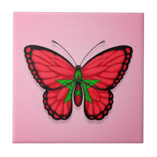 Bandera marroquí de la mariposa en rosa tejas  ceramicas