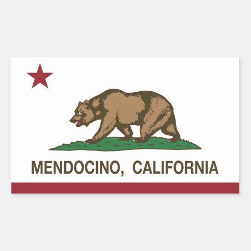 Bandera Mendocino de la república de California Rectangular Pegatinas
