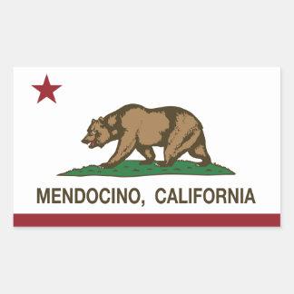Bandera Mendocino de la república de California Pegatina Rectangular