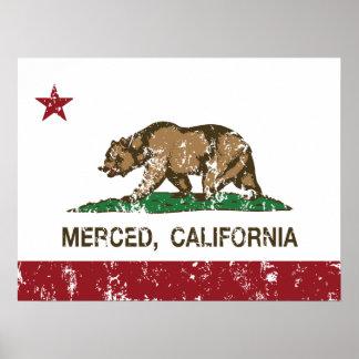 Bandera Merced del estado de California Póster