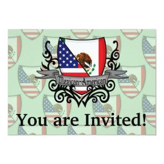 Bandera mexicana-americano del escudo invitación 12,7 x 17,8 cm