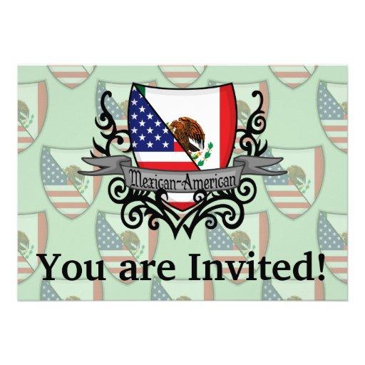 Bandera mexicana-americano del escudo invitaciones personalizada