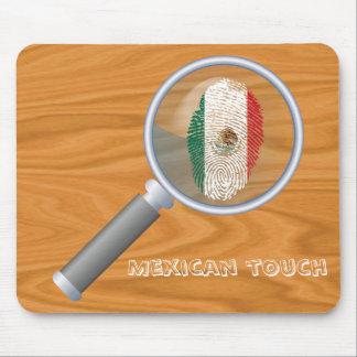 Bandera mexicana de la huella dactilar del tacto alfombrilla de ratón