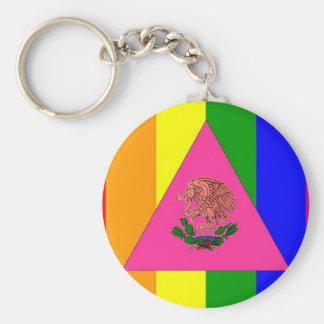 Bandera mexicana del orgullo gay llavero personalizado